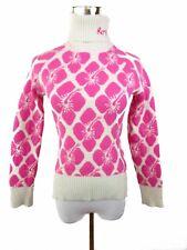 ROXY Women Vtg Chunky Print Knit sz S Festival Lambswool Angora Polo Jumper BA43