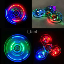 Clear Blue LED Hand Spinner Tri Fidget Toy ADHD Spinner Light Up Desk Focus Kids
