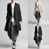 Mode Femme Manteau Manche Longue Décontracté lâche 100% coton Boutons Vestes