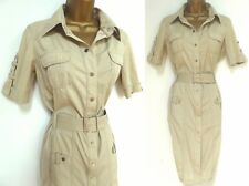 KAREN MILLEN ✩ CLASSIC CREAM BELTED SAFARI MILITARY SHIRT STYLE DRESS ✩ UK 10