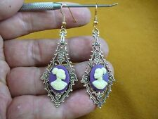 CAE1-32) RARE African American LADY purple + ivory CAMEO dangle Earrings JEWELRY