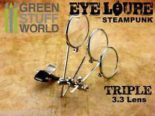 Lentes Steampunk TRIPLE lente - Tipo Clip - Lentes Relojero - Cosplay Disfraces