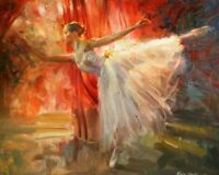 ZWPT174  charming 100% handmade painted Ballet Girl oil painting art on Canvas