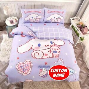 Adorable Cinnamoroll Purple Custom Name Bedding Set