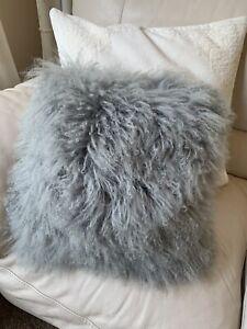 West Elm Mongolian Fur Pillow Cover Gray