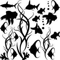 Sticker Décoration Planche Fond Marin Plantes et Poissons ( 20x20 cm à 30x30 cm)