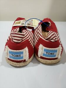 Toms Size 11 Red Solid Stripes Slip On Shoes Classic Canvas Casual Rope NWT