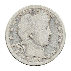 KM# 114 - 1/4 Dollar - Barber Quarter - USA 1909 (Fair)