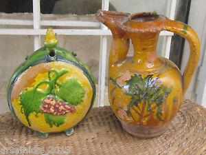 Lot of VERY RARE Antique OTTOMAN EMPIRE Ceramics Glazed POTTERY PITCHER &CANTEEN