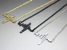 Stylish Heartbeat Electrocardiogram ECG Pendant Necklace EKG Silver Gold Black