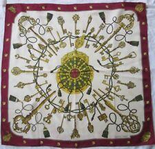 """Auth foulard carré HERMÈS """" LES CLEFS """" Cathy latham en 1965  soie vintage *"""