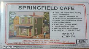 American Model Builders, Inc HO #136 Springfield Cafe, kit (Laser Cut Kit) Wood