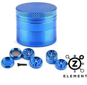 50mm Blue Metal Aluminium Hand Grinder 4 Part Tobacco Herb Crusher Muller IE