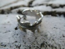 Empowering Jewelry Feather Alloy Ring One Size Silver-Tone Boho Indie Urban