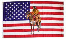 Flagge Fahne USA+Indianer mit Pferd Reiter Krieger, 90x150 cm Ösen Amerika Deko