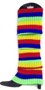 RAINBOW LEG WARMERS Stocking Ribbed High Knitted Socks Chunky Dance 80s Party