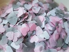 2 HANDFULS WHITE & SOFT PINK AND GREY HEARTS CONFETTI WEDDING/THROWING/ECO