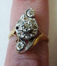 Bague alliance en  OR massif 18k + diamants Bijou ancien 19e siècle gold ring