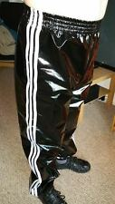 PVC Track Pants S-4XL, Black-White (NOW WITH POCKETS)
