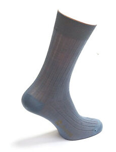 Men's Ocean Colour Mid-Calf Socks 100% Cotton Striped Design Made in Italy-pairs