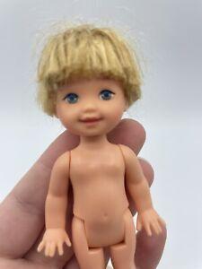 Barbie Kelly Tommy Doll Nude Golden Blonde Hair & Light Blue Eyes Mattel BOY #3