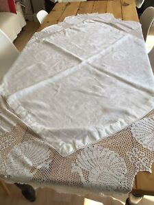 """White Linen Table Cloth With Embroidered Peacock Pattern Size 60""""x 60"""" Vintage"""