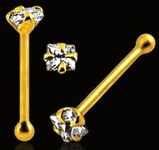 Tiny 1.5mm Square diamonte CZ 9k SOLID GOLD Nose stud/ring/bone+10 FREE W/BIN