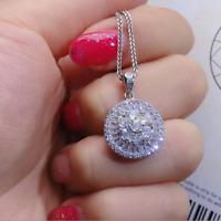 1.80Ct Round Cut Diamond Cluster Halo Necklace Pendant 14K White Gold Finish