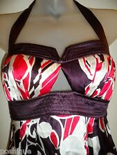 2B bebe NWT XS Halter Top Triangle Keyhole Floral Silk Purple White Spring Sexy