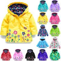 Kids Toddler Girl Floral Hooded Windbreaker Windproof Rain Jacket Coat Outerwear