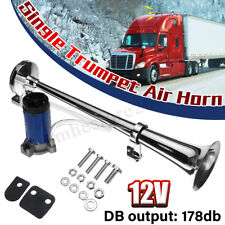 12V 178DB Single Trumpet Air Horn Chrome Compressor For Truck Boat Train Single