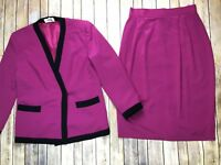Vintage Lilli Ann Collection Pink & Black Blazer Jacket Pencil Skirt Suit Large