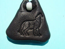 Howling WOLF Medicine Bag Medicine Bag Black Leather Buckskin Necklace 1019
