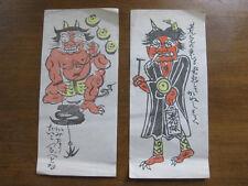 1930's vintage Japanese CARTOON PRINT DEVIL comedy Japan woodcut satan