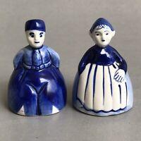 VTG HOLLAND DUTCH Porcelain BELLS Set Farmers Couple Blue/White DELFT Souvenir
