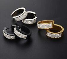 Stainless Steel Women's Men's Huggie Hoop Crystals 20mm Earrings