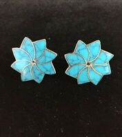 Vintage Sterling Silver Earrings Taxco Turquoise Spiral Flower Star Screw Back
