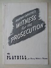 April 30th, 1956 - Henry Miller's Playbill - Witness for The Prosecution