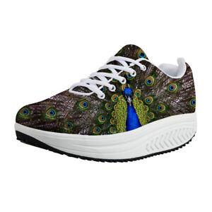 Peacock Print Womens Mesh Wedge  Walking Fitness Shoes Platform Sneakers Cool