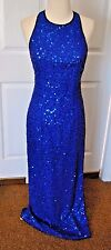Vintage Laurence Kazar Silk Royal Blue Beaded Gown Dress Size Small Gorgeous