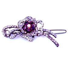 Multi-shades of purple crystal flower barrette