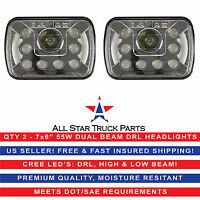 5x7 7x6 LED Headlights Replacement Jeep Toyota XJ YJ 4Runner (pair) DRL 55W