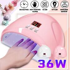 36W Nail Polish Dryer Pro Uv Led Lamp Acrylic Gel Curing Light Manicure Timer