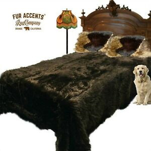 Plush Faux Fur Bedspread, Throw Blanket or Comforter, Bear Brown, Minky Lining