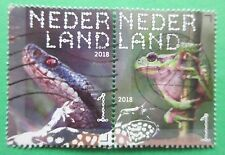 Nederland Reptielen / Reptilien paartje 3 doorlopers uit 2018 gestempeld
