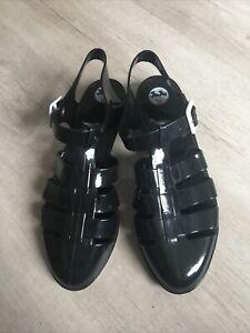 EXCEL CON Juju Jelly black flat sandals jelly comfy stylish - size 8