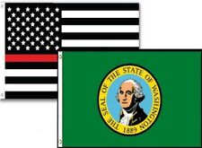3x5 Usa Thin Red Line Washington State 2 Pack Flag Wholesale Set Combo 3'x5'