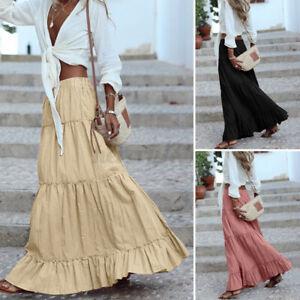 UK Women Summer Skirts Cotton Loose Holiday Long Maxi Frill Dress Long Maxi Plus