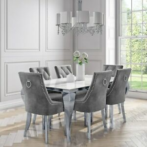 Mirrored Dining Table with 6 Chairs in Grey Velvet - Jade Bouti BUN/ANE003/76676