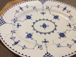 Furnivals Denmark Blue  Oval Open Serving Dish - 14 Inches x 11 Inches
